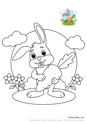 Osterhase mit einer großen Karotte (free printable coloring page)