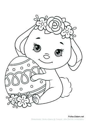 Osterlamm trägt Blumenkrone (free printable coloring page)