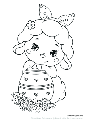 Lustiges Lamm mit einem Osterei (free printable coloring page)