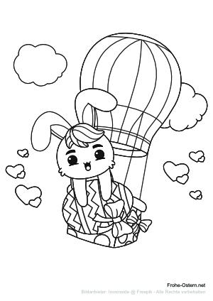 Ein Osterhase in einem Heißluftballon (free printable coloring page)