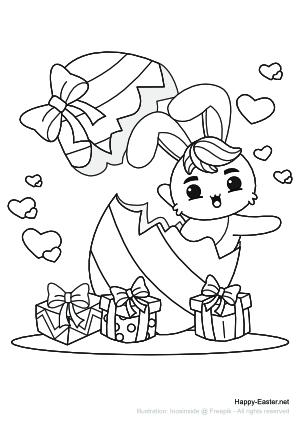 Ein lustiger Osterhase in einem Osterei (free printable coloring page)