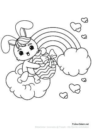 Osterhase vor einem Regenbogen (free printable coloring page)