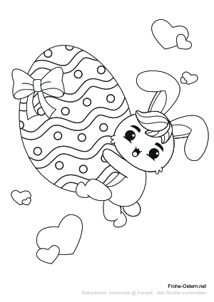 Hase hält ein großes Osterei (free printable coloring page)