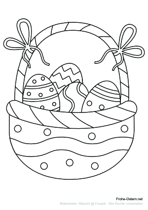Ostereikorb mit bunten Schleifen (free printable coloring page)