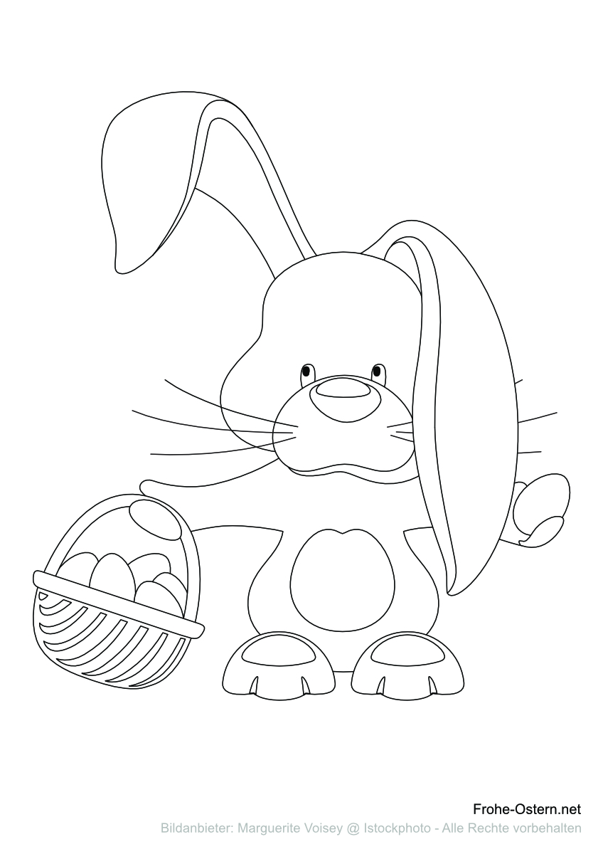 Osterhase und Eierkorb (free printable coloring page)
