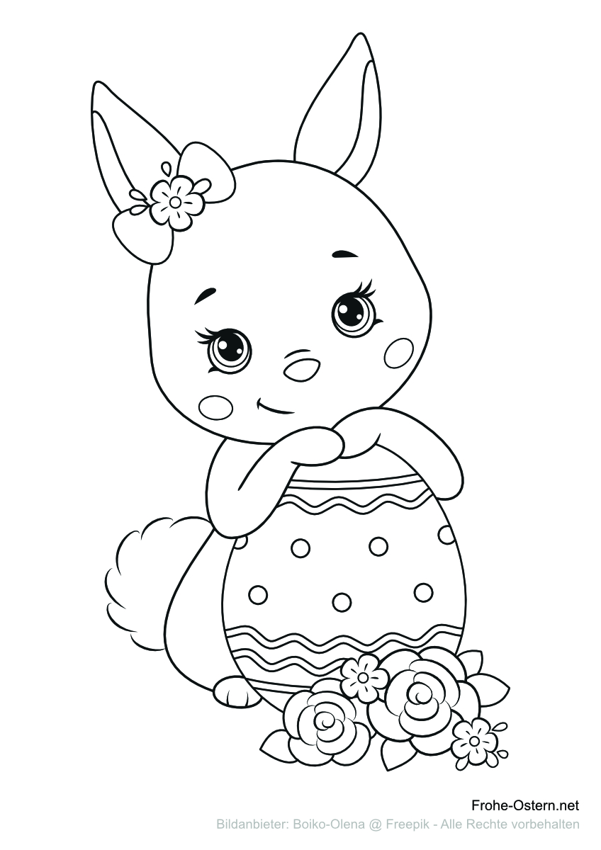Netter Hase mit einem Ostereig (free printable coloring page)
