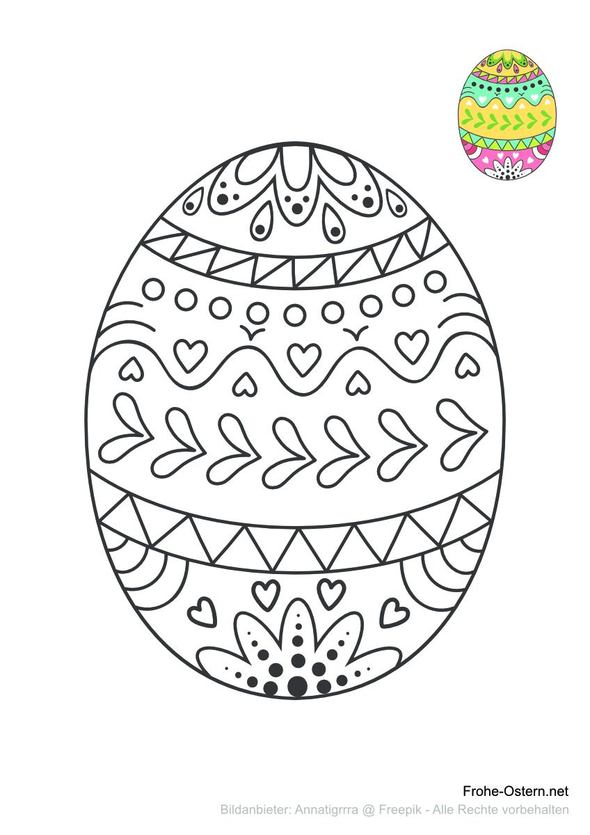 Ein buntes Osterei (free printable coloring page)