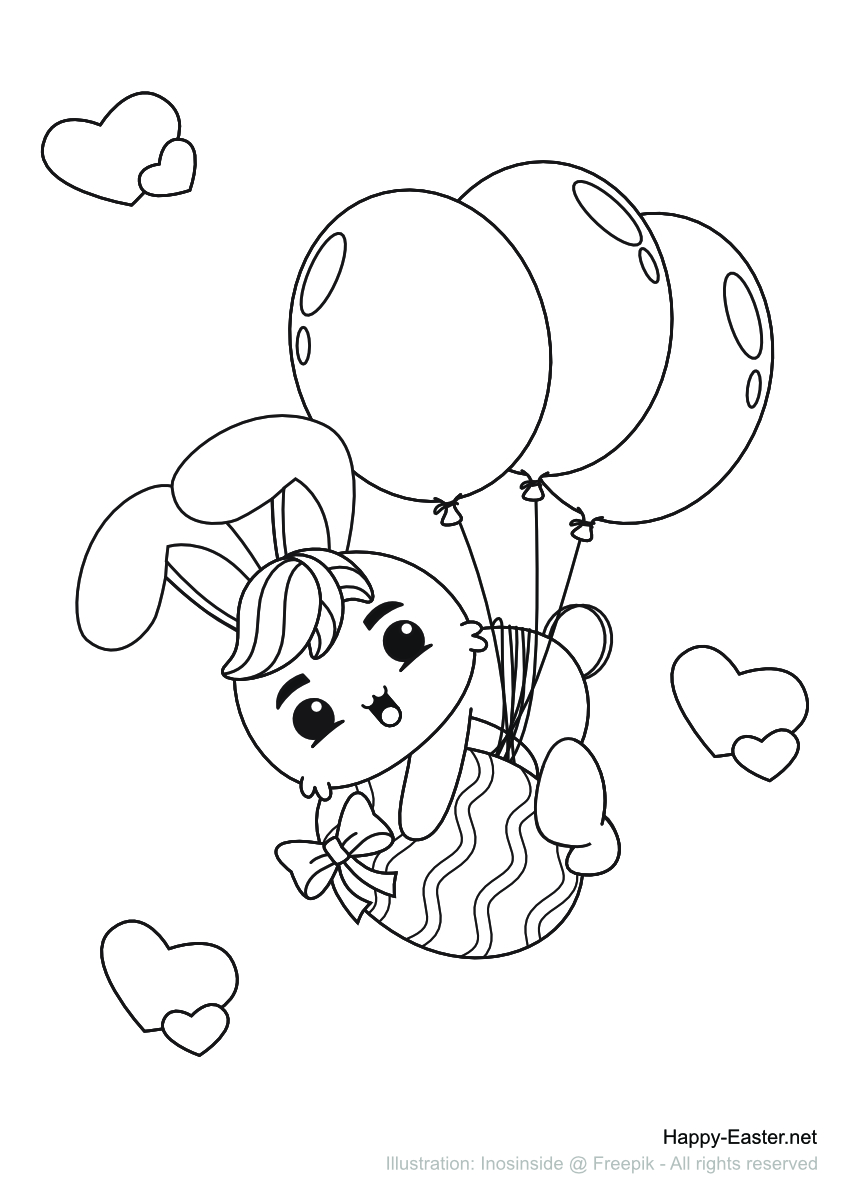 Osterhase fliegt mit Luftballons (free printable coloring page)