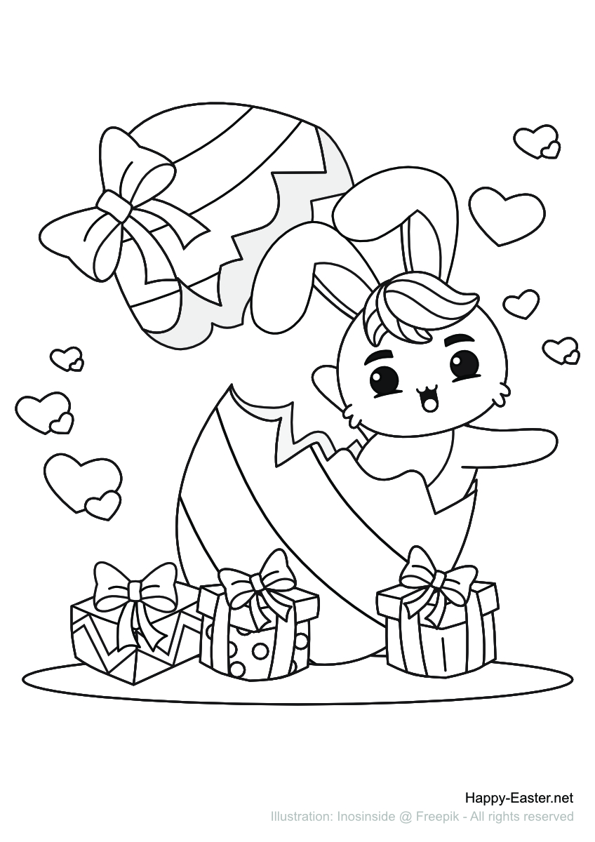 Ein lustiger Osterhase in einem Osterei (free printable coloring page)