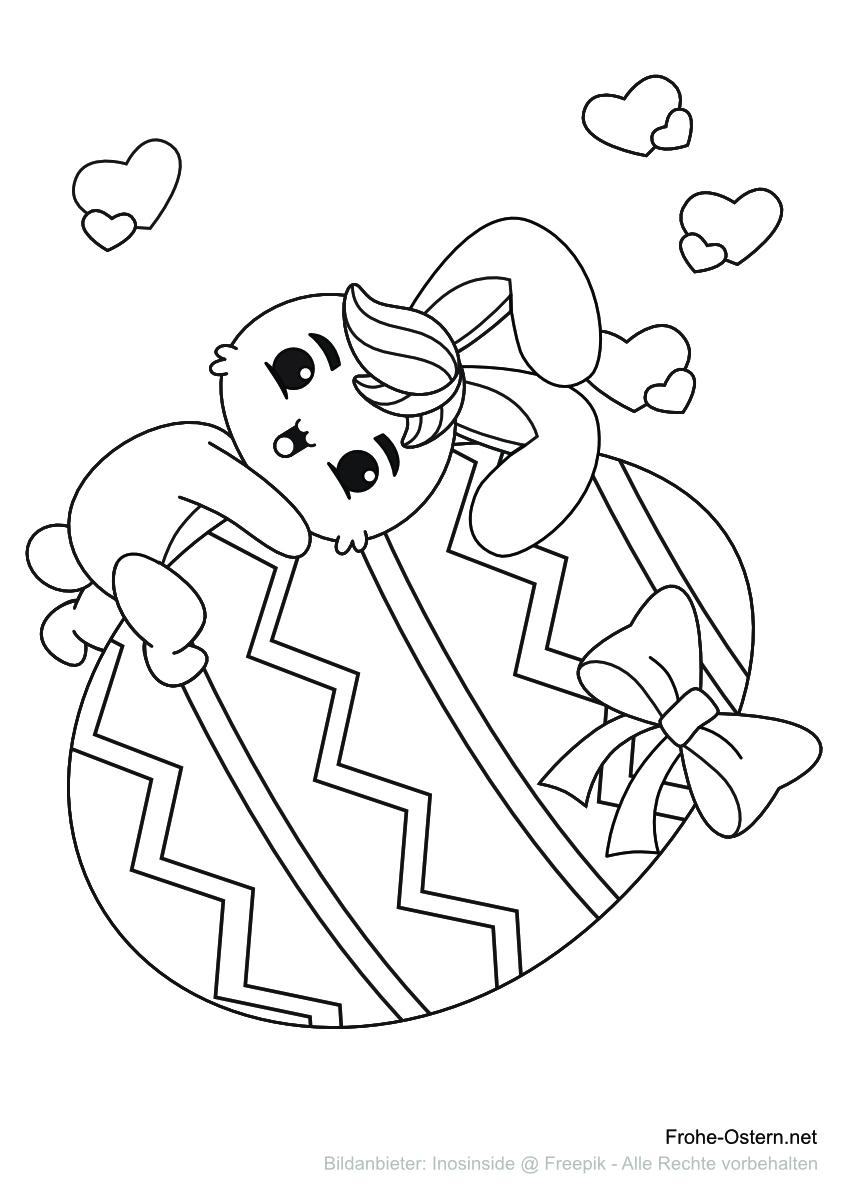 Osterhase auf einem großen Osterei (free printable coloring page)
