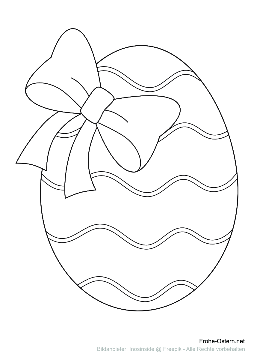 Osterei mit einem Bogen (free printable coloring page)