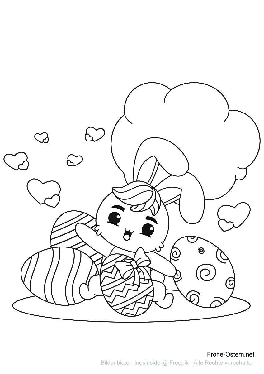 Osterhase mit Ostereiern (free printable coloring page)