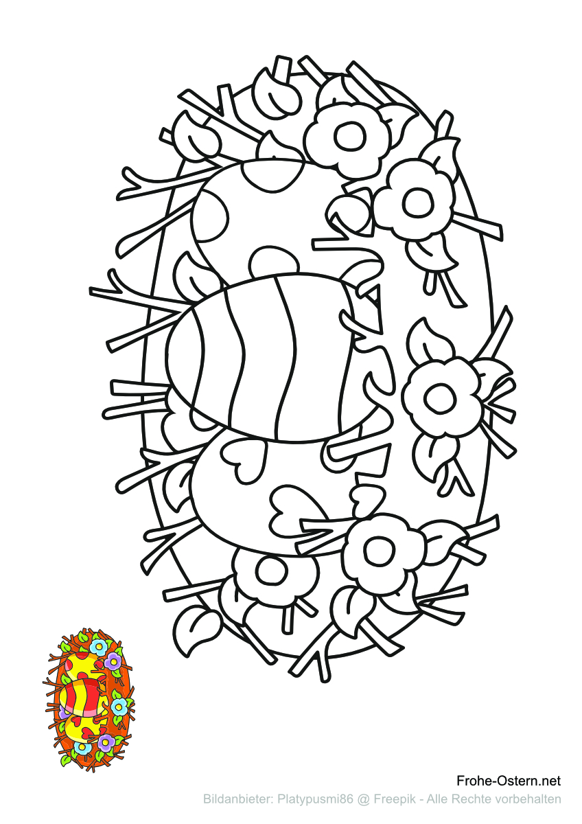 Nest gefüllt mit Ostereiern (free printable coloring page)