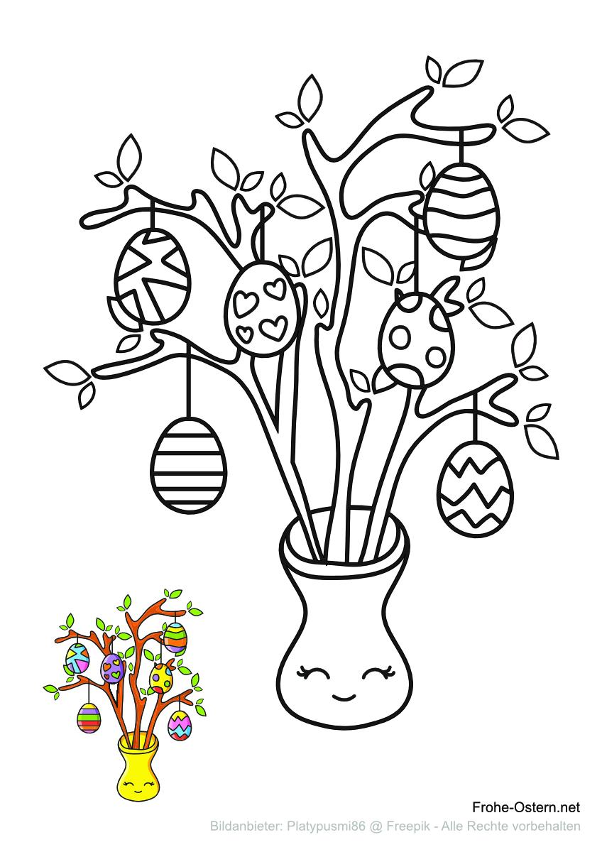 Osterbusch mit bemalten Eiern verziert (free printable coloring page)
