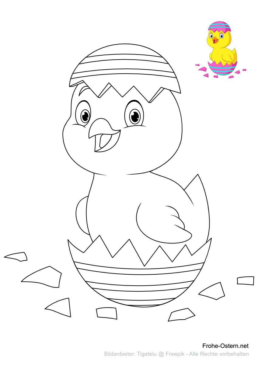 Küken schlüpfen aus einem Osterei (free printable coloring page)